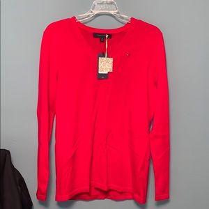 Tommy Hilfiger Red V-Neck Cotton Sweater Medium